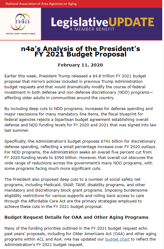 02.11.20 n4a Legislative Update n4as Analysis of the Presidents FY 2021 Budget Proposa1